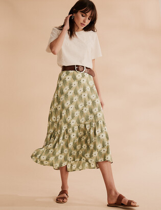 Marks and Spencer Floral Tiered Midi Skirt