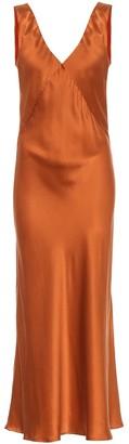 ASCENO Bordeaux silk satin maxi dress