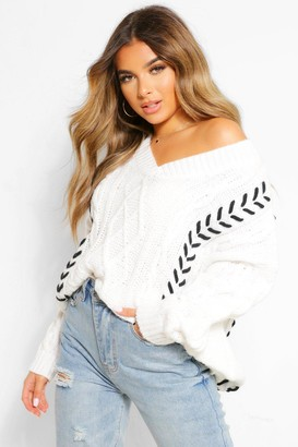 boohoo Petite Knitted Contrast Stitch Jumper