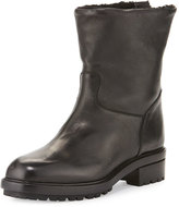 Sartore Shearling-Lined Leather Moto Boot, Black