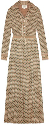 Gucci Long Square G viscose lame dress