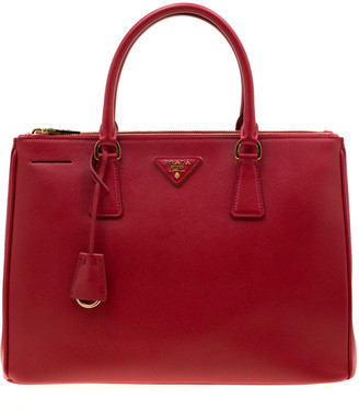 Prada Red Saffiano Lux Leather Medium Double Zip Tote