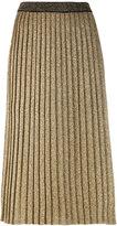 Tory Burch metallic-knit pleated skirt - women - Polyester/Wool/Metallic Fibre - S