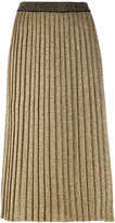 Tory Burch metallic-knit pleated skirt - women - Wool/Metallic Fibre/Polyester - S