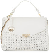 Versace Woven Leather Slouchy Tote Bag, White