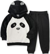 Kids Headquarters Little Boys' Toddler Fleece Hoody with Panda Face and Jogger Pants