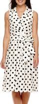 Jessica Howard Sleeveless Dot Shantung Shirtdress