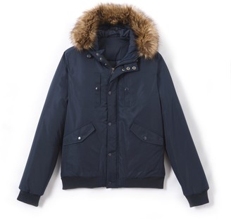 La Redoute Collections Faux Fur Hooded Padded Bomber Jacket, 10-16 Years
