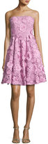 Milly Meg Strapless 3D Floral Cocktail Dress, Pink