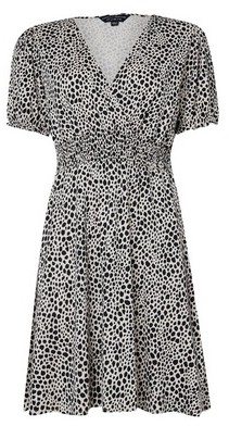 Dorothy Perkins Womens Black And White Animal Printed Shirred Waist Jersey Mini Dress, White