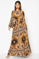 boohoo Lyrai Shirred Waist Scarf Print Maxi Dress