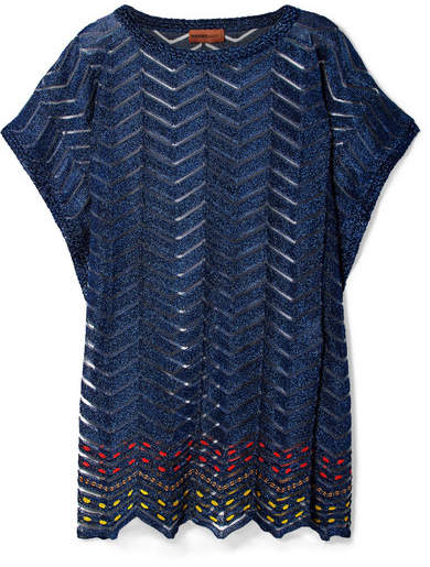 Missoni Mare Metallic Crochet-knit Kaftan - Navy