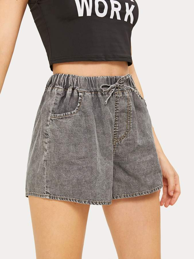 Shein Knot Front Solid Denim Shorts