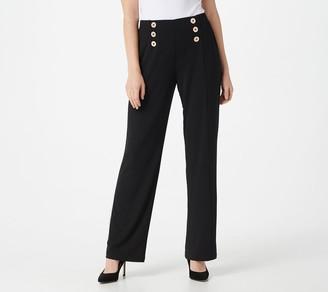 Susan Graver Petite Liquid Knit Pull-On Pants w/ Button Trim