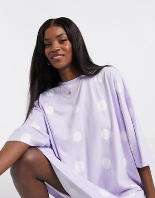 ASOS DESIGN oversized t-shirt dress in lilac spot