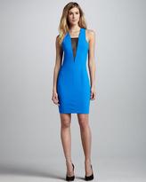 Robert Rodriguez Sheer-Panel Formfitting Dress, Azure