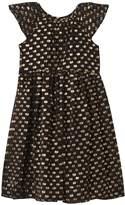 Burberry Black and Gold Lurex Spot Silk Dress