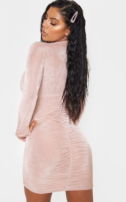 Red Label Redlabel Rose Textured Slinky Long Sleeve High Neck Ruched Back Bodycon Dress