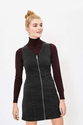 Oasis Womens Black Zip Denim Shift Dress - Black