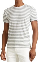 John Varvatos Striped Saddle Shoulder Tee