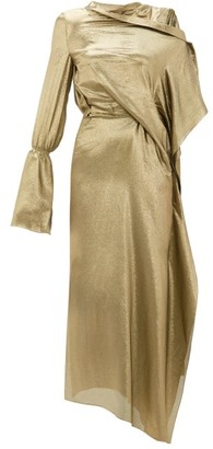 Roland Mouret Solera Asymmetric Silk-blend Lame Gown - Womens - Gold