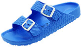 Jessica Carlyle Women's Sandals ROYAL - Royal Blue Croc-Embossed Double-Strap Summer Sandal - Women