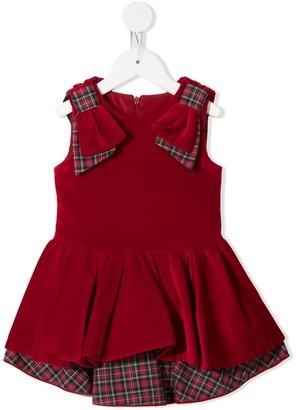 Lapin House Tartan-Detail Velvet Dress