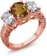 Gem Stone King 4.40 Ct Oval Whiskey Quartz 18K Rose Gold Plated Silver Ring