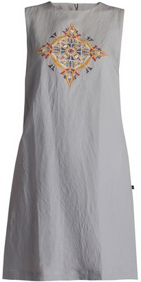 Gisy Vietnam Mandala Embroidered Linen Shift Dress Clay