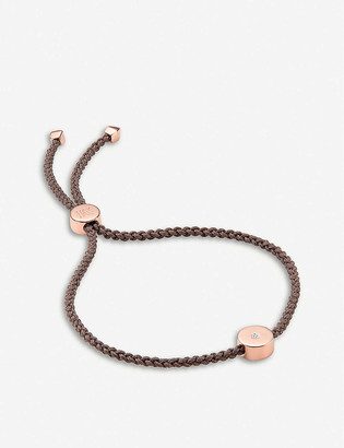 Monica Vinader Linear Solo 18ct rose gold-plated vermeil silver and diamond friendship bracelet