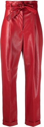 Philosophy di Lorenzo Serafini Faux-Leather Paperbag-Waist Trousers