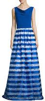 Theia Sleeveless Striped-Skirt Ball Gown, Royal/White