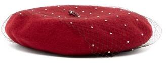 Benoit Missolin Swarovski Crystal-embellished Wool Beret - Womens - Burgundy