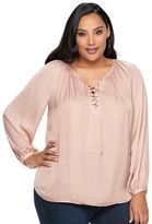 JLO by Jennifer Lopez Plus Size Lace-Up Blouse