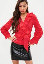 Missguided Red Frill Wrap Shirt