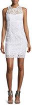 Nanette Lepore Sleeveless Lace Illusion Sheath Dress, White