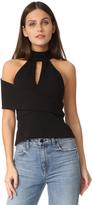 Michelle Mason Halter Asymmetric Strap Top