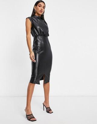 ASOS DESIGN leather look drape front midi dress in black