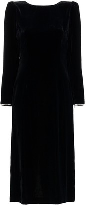 Gucci Crystal Embellished Open Back Silk Blend Velvet Dress