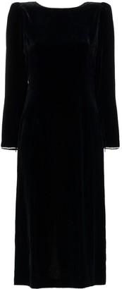 Gucci Crystal Embellished Open Back Silk Blend Velvet Dress