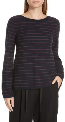 Vince Striped Bell Sleeve Cashmere Sweater
