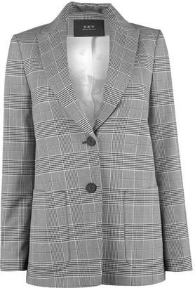 SET Single Breasted Check Pattern Blazer