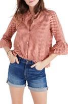 Madewell Women's Gingham Bell Sleeve Shirt