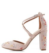 Charlotte Russe Floral Embroidered Crisscross Heels