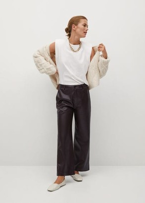 MANGO Faux leather culotte pants wine - 1 - Women