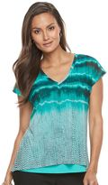 Dana Buchman Women's Layered Mesh V-Neck Top
