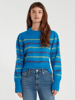 Tanya Taylor Sabela Mock Neck Stripe Alpaca Knit Sweater