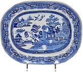 One Kings Lane Vintage 19th C. Blue Willow Transfer Platter - Black Sheep Antiques