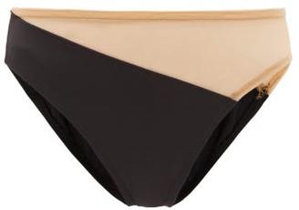 Norma Kamali Snake High-rise Mesh-panel Bikini Briefs - Black