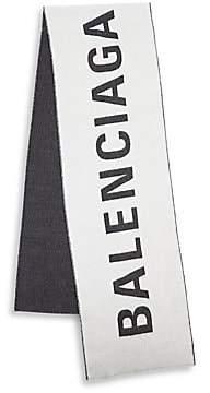 Balenciaga Men's Macro Logo Jacquard Wool Scarf